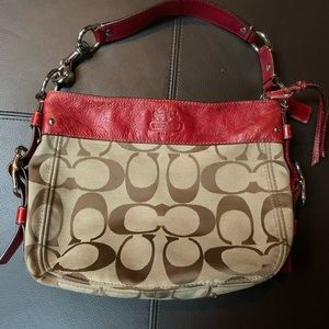 Tan with Red leather classic Coach Bag